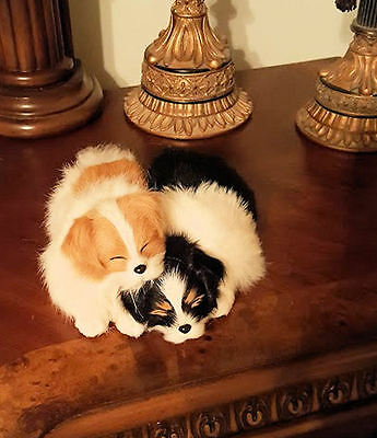Collie Puppies Collectible Sleeping Pair 2 Dogs Gift Christmas SALE