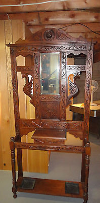 Antique Hand Carved Hall Tree Stand Coat Rack Mirror & Drawer