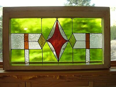"""Stained Glass window vintage frame 27.75""""X 16.25"""" Tiffany method Hand crafted"""
