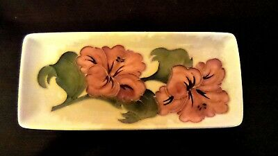 Vintage William Moorcroft Art Pottery England Coral Hibiscus Flower Small Tray