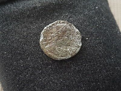 Lovely detailed later Roman bronze coin unresearched, uncleaned condition L51v