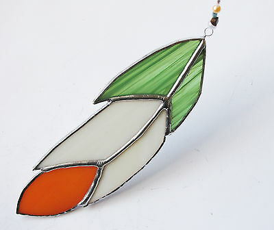 Handmade Stained Glass Bird Feather Suncatcher Green/White/Orange- Irish Colours