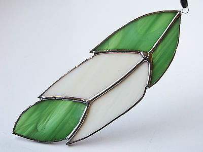 Handmade Stained Glass Bird Feather Suncatcher Green & White Colour Gift UK