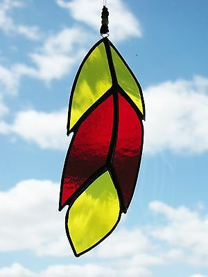 Handmade Stained Glass Bird Feather Suncatcher Yellow & Red Colour Retro Gift UK
