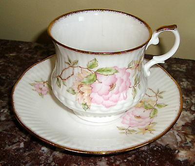 ROYAL HERITAGE England FOOTED CUP & SAUCER with Pink Flowers & Gold Trim