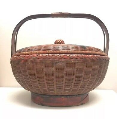 """$290 Antique 1890c Red 14""""D Chinese Bamboo Woven Wedding Basket Vintage Picnic"""