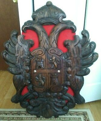 Antique Large Hand Carved Wood Plaque Double Headed Eagle Crown
