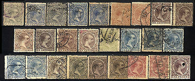 1889 SPAIN LOT OF 26 USED STAMPS (Michel # 189-197,199)
