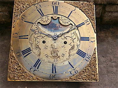 13x13 inch 8day AXE HEAD MOON c1770 LONGCASE  CLOCK dial + movement
