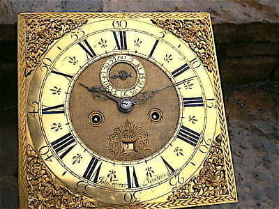 12x12 inch 8day c1730 LONGCASE  CLOCK dial + movement