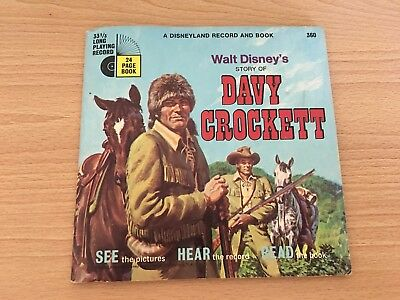 Walt Disney's Story Of Davy Crockett Record With 24 Page Book 33 1/3