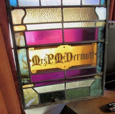 Antique Stained Slag Glass Church Window Mrs. P McDermott Tribute Memorial