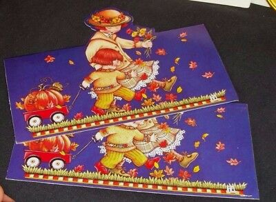Mary Engelbreit die cut Thanksgiving cards Girls w/wagon & pumpkin  2 cards