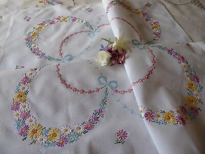 Vintage Hand Embroidered  Linen Tablecloth= Beautiful Delicate Embroidery