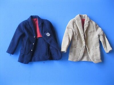 Vintage Barbie Doll KEN TAN & BLUE BLAZER LOT Jacket Mattel Tagged Clothes 60's