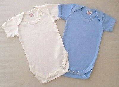 2 Pack 3-6m Baby Boys Vests Cotton Bodysuit New Blue White Fasteners Plain