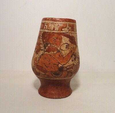 Reproduction Pre Columbian Polychrome Mayan Clay Pottery Jar Vessel Nicaragua