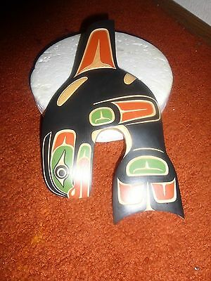 """Authentic Squamish Nation Hand Carved Cedar  """"Killer Whale"""" Plaque! Must See!"""
