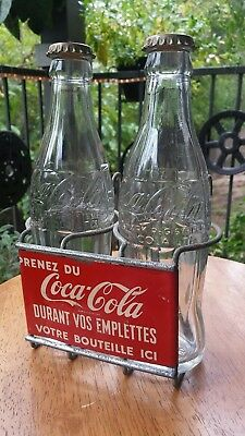 Coca Cola Coke Unique French Shopping Cart 2 Bottle Holder w/ Vtg Bottles/Caps