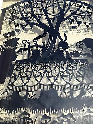 Paper cut Alice In Wonderland Mad Hatters Tea Party,