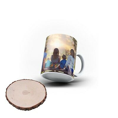 Personalised Mug Custom Magic Mug Photo Image Picture Log Coaster Gift Set