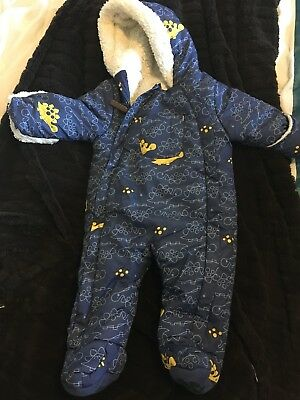 Baby boys warm all-in-one coat/snowsuit age 3-6 months - blue dinosaur print