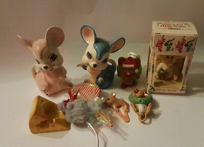 LOT OF 9 MOUSE MICE FIGURINES christmas home decor vintage collectible  vtg *