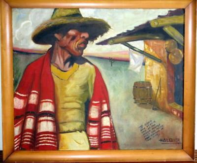 Large Vintage 1940 Mexican Genre Painting Signed And Inscribed