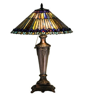 """Victorian Jeweled Peacock Table Lamp Light Tiffany Style 23""""H Home Decor"""