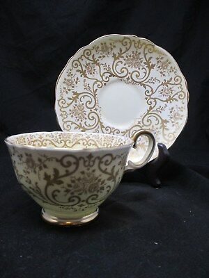 Crown Staffordshire Fine Bone China Made in England Yellow & Gold Tea Cup Saucer