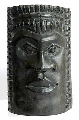 Vtg Hand Carved Solid Wood BLACK AFRICAN FACE MASK Wall Decorative Collectibles