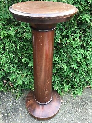 Antique Carved Turned Wood Mahogany NEWEL POST PLANT STAND Architectural Salvage