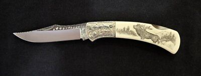 GUTMANN EXPLORER G. SAKAI JAPAN FOLDING LOCK Knife 112 110 SCRIMSHAW  by Renwa