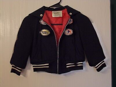 Vintage 50's & 60's Nordic Pyramid Wool Jacket Boy's Size 6 With Vintage Patches