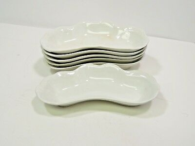 Set of 6 Vienna S.C. Co White Bone Crescent Side Dishes Scalloped Edge 7.75""