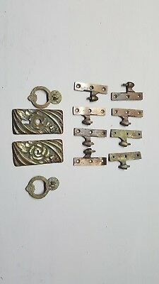 VINTAGE Antique Drawer Cabinet Pull Handle Hinge Keylock Keyhole Brass Old