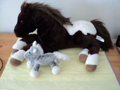 BREYER Brown & Gray PONY HORSE Plush Stuffed Animals Lot of two, one lrg one sm