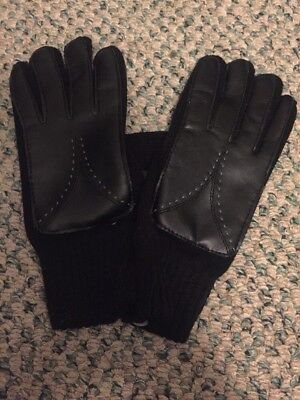 Vintage Black Acrylic Knit Faux Leather Winter Driving Gloves SOFT- NEVER WORN!!