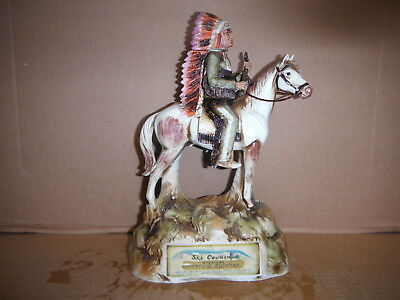 """Ski Country 1975 """"indian Chief On Horse"""" Decanter #19"""