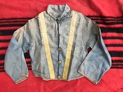 Vintage 1900s 1910s Child's Chambray Linen Shirt w Navy Anchor Buttons Costume?