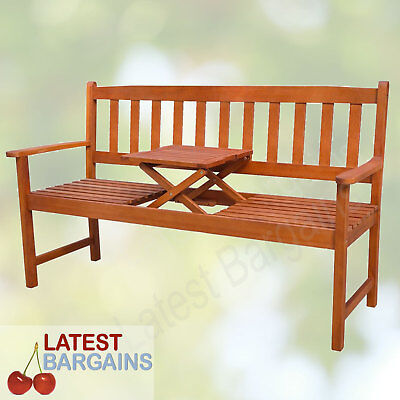 Wooden Garden Park Bench Seat Timber Patio Outdoor Chair Pop up Table