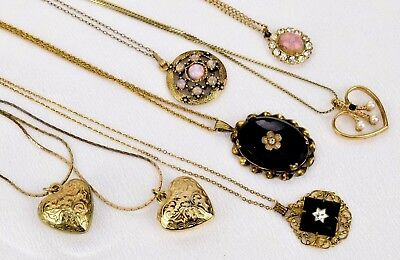 Stunning Vintage Estate Lot Of 7 Necklaces Faux Pearl Faux Opal Rhinestone