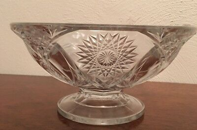 Vintage Clear Crystal Press Glass Pedestal Style Candy/ Nut/ Dish Bowl
