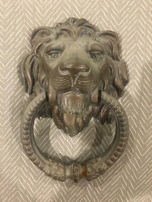 Antique Door Knocker Lion Head Face Handle Brass Front Home Decor Wall Statue