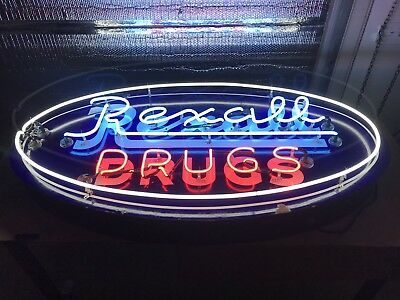 Vintage Porcelain Neon Rexall Drug Advertising Sign