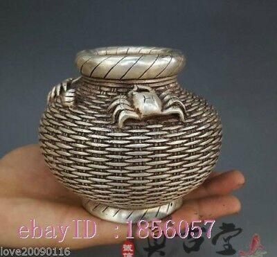 Collectible Decorate Old Handwork Miao Silver Carve Crab Fish Basket