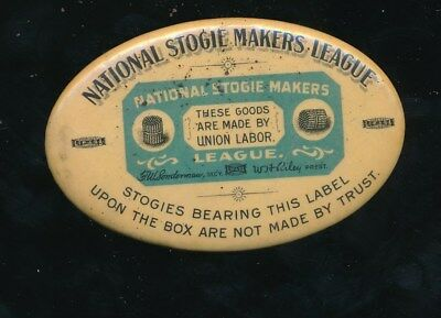 NATIONAL STOGIE MAKERS LEAGUE Antique Advertising Pocket Mirror UNION CIGARS