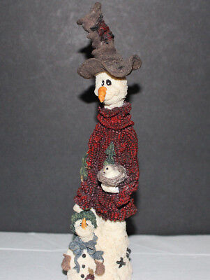 BOYDS BEARS FOLKSTONE COLLECTION CHILLY & SON W/ DOVE FIGURINE Snowman