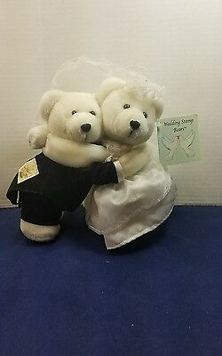 """USPS 8"""" Wedding Stamp Bears Plush Set 2005 Mint with tags Excellent condition"""