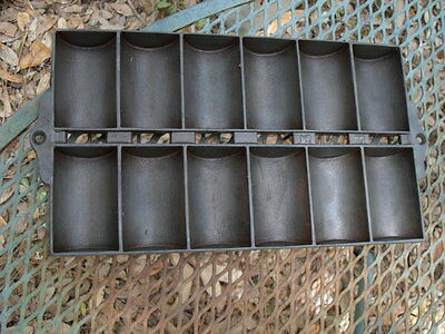 Vintage Cast Iron French Roll Pan, No. 11 Mini Loaf Pans, Gem Pan